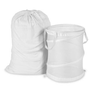 Honey Can Do White Mesh Laundry Bag and Hamper Kit