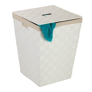 Honey Can Do White Woven Hamper with Liner