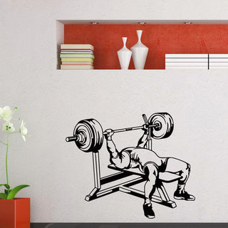 Gym Decor Benching Weightlifting Vinyl Wall Art Decal Sticker