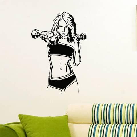 Dumbbels Girl Gym Decor Vinyl Wall Art Decal Sticker