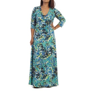 Ella Samani's Plus Size Royal White Art Maxi Dress