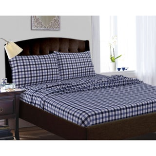 200-GSM Micro Plaid Printed Extra Deep Pocket Sheet Set (More options available)