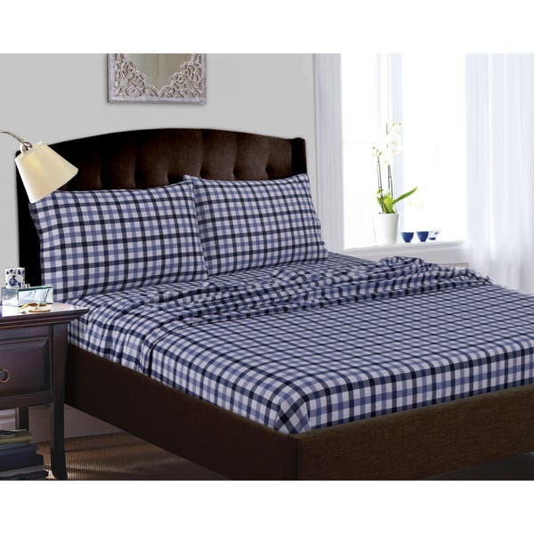 200 Gsm Micro Plaid Printed Extra Deep Pocket Bed Sheet Set Overstock 10597488
