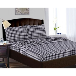 200-GSM Micro Plaid Printed Extra Deep Pocket Sheet Set