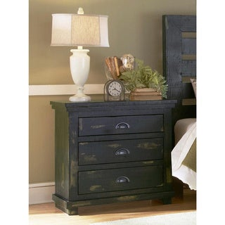 Willlow Distressed Black Wood 3-drawer Nightstand