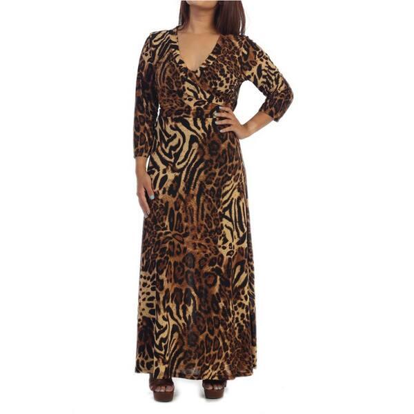 Shop Ella Samani\'s Plus Size Leopard Maxi Dress - Free ...