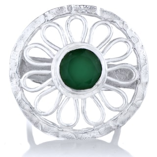 Brass Base Greenstone Flower Cocktail Ring