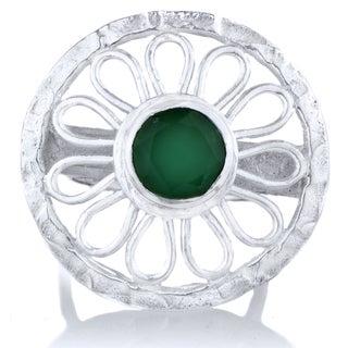 Brass Base Greenstone Flower Cocktail Ring