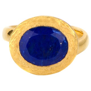 Brass Base Oval Cut Stone Goldtone Cocktail Ring