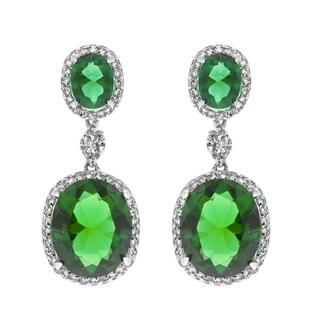 Fancy Green Cubic Zirconia Drop Earrings