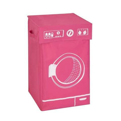 Honey Can Do Pink Graphic Washing Hamper