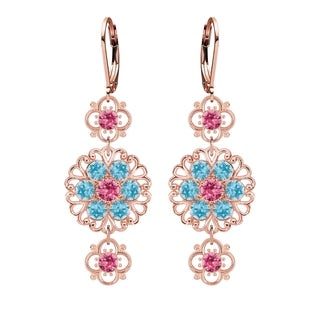 Lucia Costin Pink Silver Light Blue Crystal Earrings