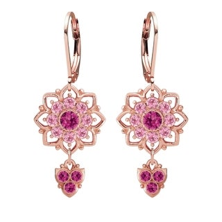 Lucia Costin .925 Silver Fuchsia Light Pink Crystal Earrings