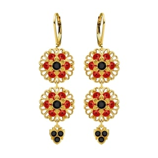 Lucia Costin Silver Black Red Crystal Earrings