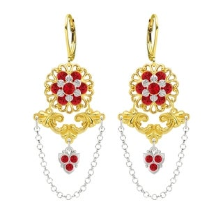Lucia Costin Sterling Silver Red Crystals Earrings