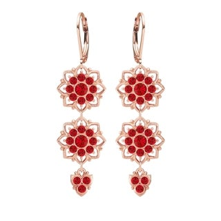 Lucia Costin .925 Silver Red Crystals Earrings