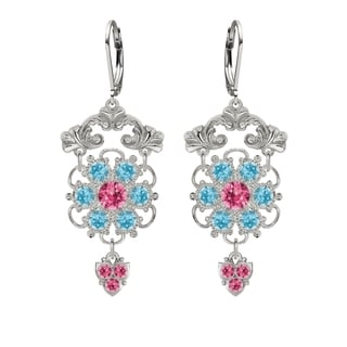 Lucia Costin Silver Pink Light Blue Crystal Earrings