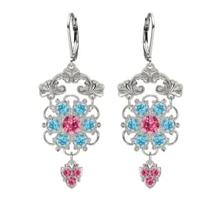 Lucia Costin Silver Pink Light Blue Crystal Earrings|https://ak1.ostkcdn.com/images/products/10597616/P17670678.jpg?impolicy=medium