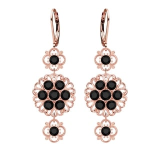 Lucia Costin Silver Black Crystal Earrings