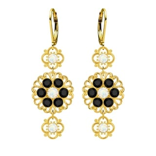 Lucia Costin Sterling Silver White Black Crystal Earrings