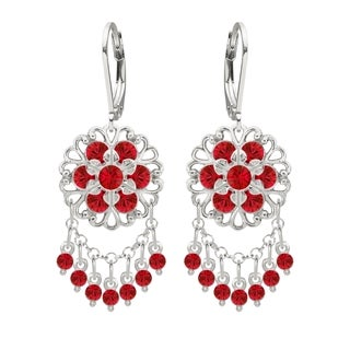 Lucia Costin Silver Red Crystal Chandelier Earrings