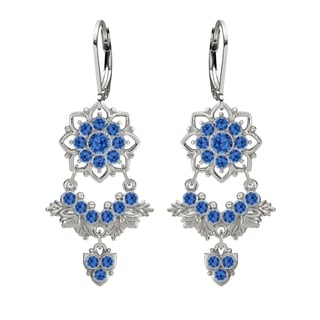 Lucia Costin Silver Blue Crystal Chandelier Earrings