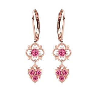 Lucia Costin Silver Pink Crystal Dangle Earrings