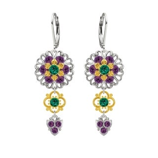 Lucia Costin Silver Violet Green Crystal Earrings