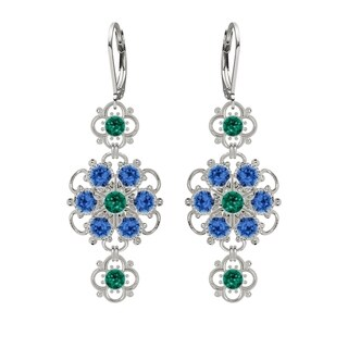 Lucia Costin .925 Sterling Silver Blue Green Crystal Earrings