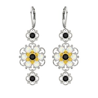 Lucia Costin Silver Black White Crystal Earring