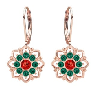 Lucia Costin Dangle Silver Red Green Crystal Earrings