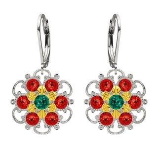 Lucia Costin Silver Red Green Crystal Dangle Earrings