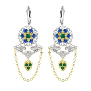 Lucia Costin Silver Green Blue Crystal Chandelier Earrings