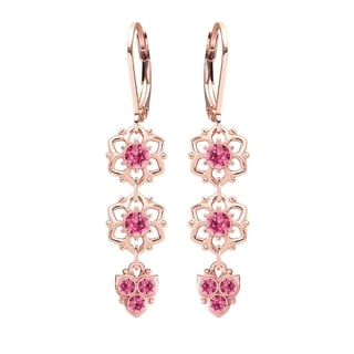 Lucia Costin Silver Pink Crystal Earrings