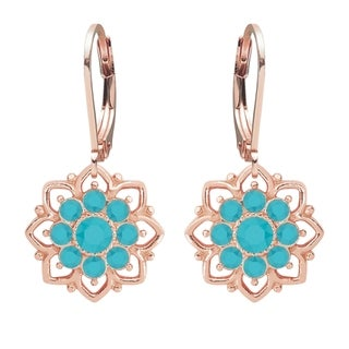 Lucia Costin Silver Turquoise Crystal Earrings