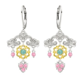 Lucia Costin Silver Mint Blue Light Pink Crystal Earrings