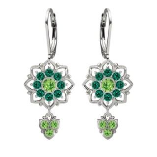 Lucia Costin Silver Light Green Dark Green Crystal Dangle Earrings