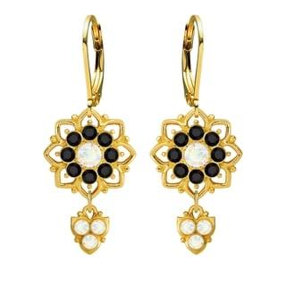 Lucia Costin Silver White Black Crystal Dangle Earrings