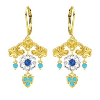 Lucia Costin Silver Blue Turquoise Crystal Dangle Earrings