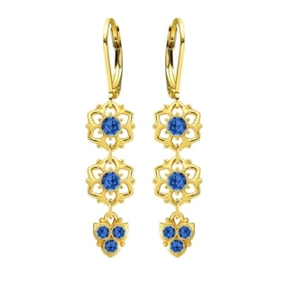 Lucia Costin Silver Blue Crystal Earrings