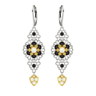 Lucia Costin Silver White Black Crystal Earrings