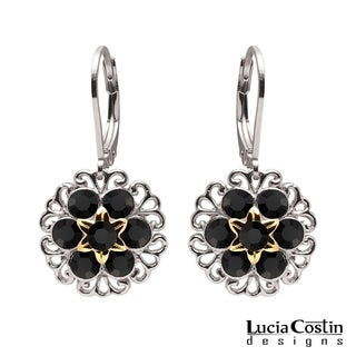 Lucia Costin Silver Black Crystals Earrings