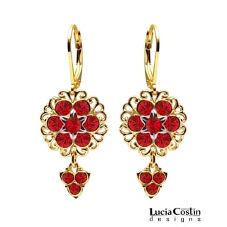 Lucia Costin Silver Red Crystal Earrings