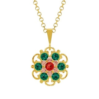 Lucia Costin Silver Green Red Crystal Pendant