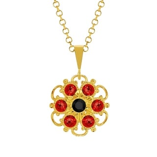 Lucia Costin Silver Red Black Crystal Pendant