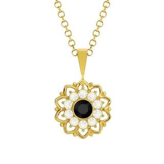 Lucia Costin Silver Black White Crystal Pendant