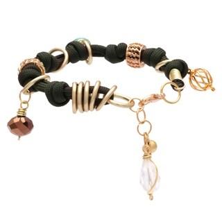 Bleek2Sheek Handmade Golden Bali Buddha Knotted Turquoise, Olive Brown and White Rhinestone Crystal Dangle Charm Ring Bracelet