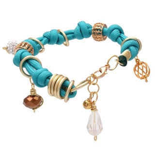 Bleek2Sheek Handmade Golden Bali Buddha Knotted Turquoise, Olive Brown and White Rhinestone Crystal Dangle Charm Ring Bracelet (3 options available)