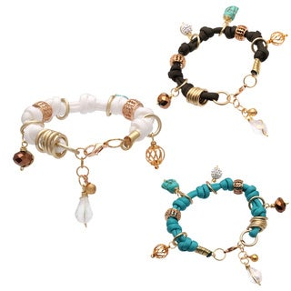 Bleek2Sheek Handmade Golden Bali Buddha Knotted Turquoise, Olive Brown and White Rhinestone Crystal (3 options available)