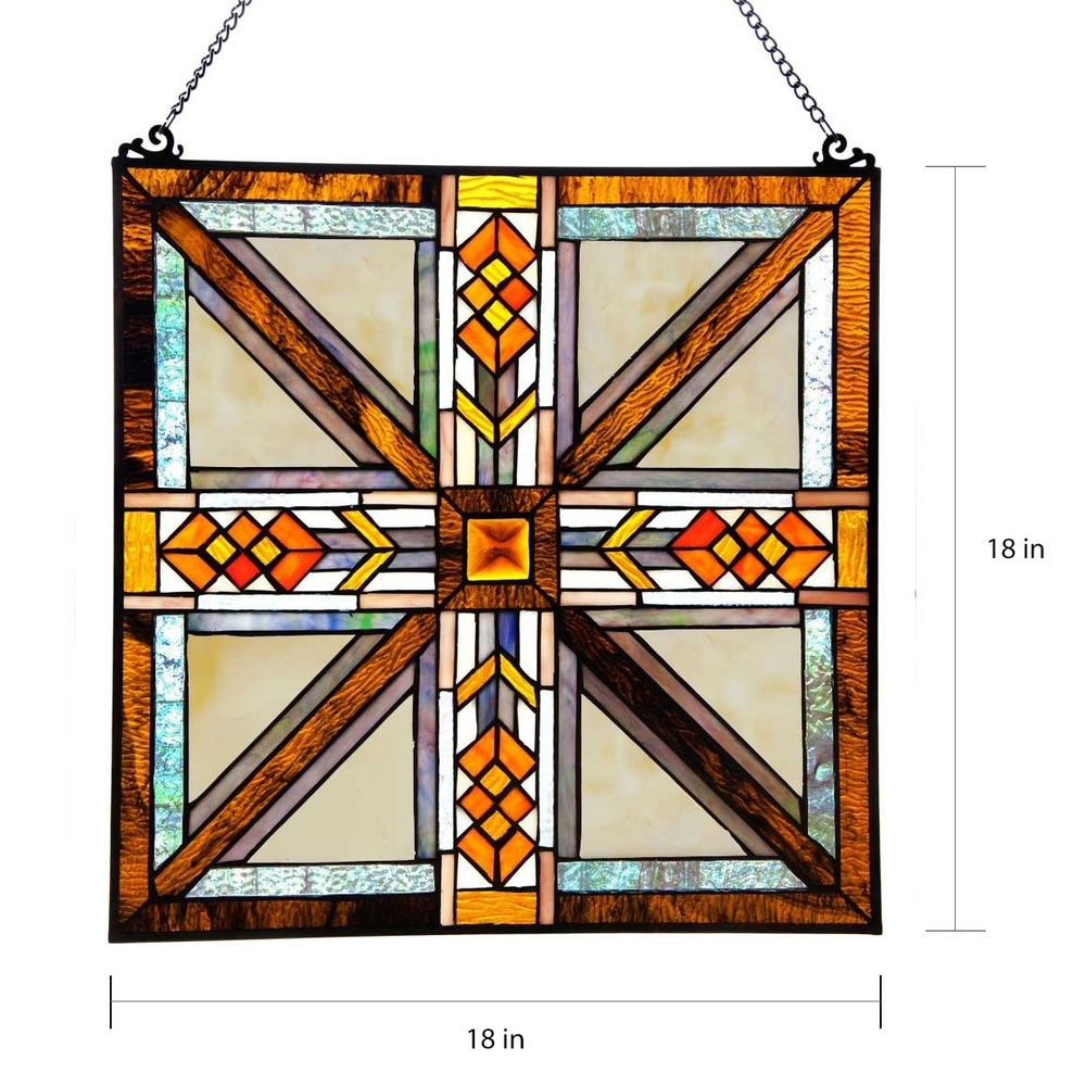 Shop Gracewood Hollow Gibran 17.5-inch Mission-style Southwestern Stained Glass Window Panel - 10597693
